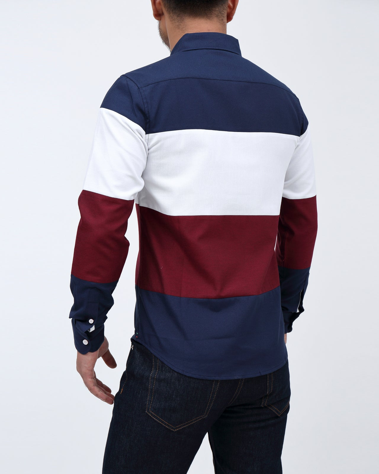Blocked Shirt - Color: Navy/White/Burgundy | Multi