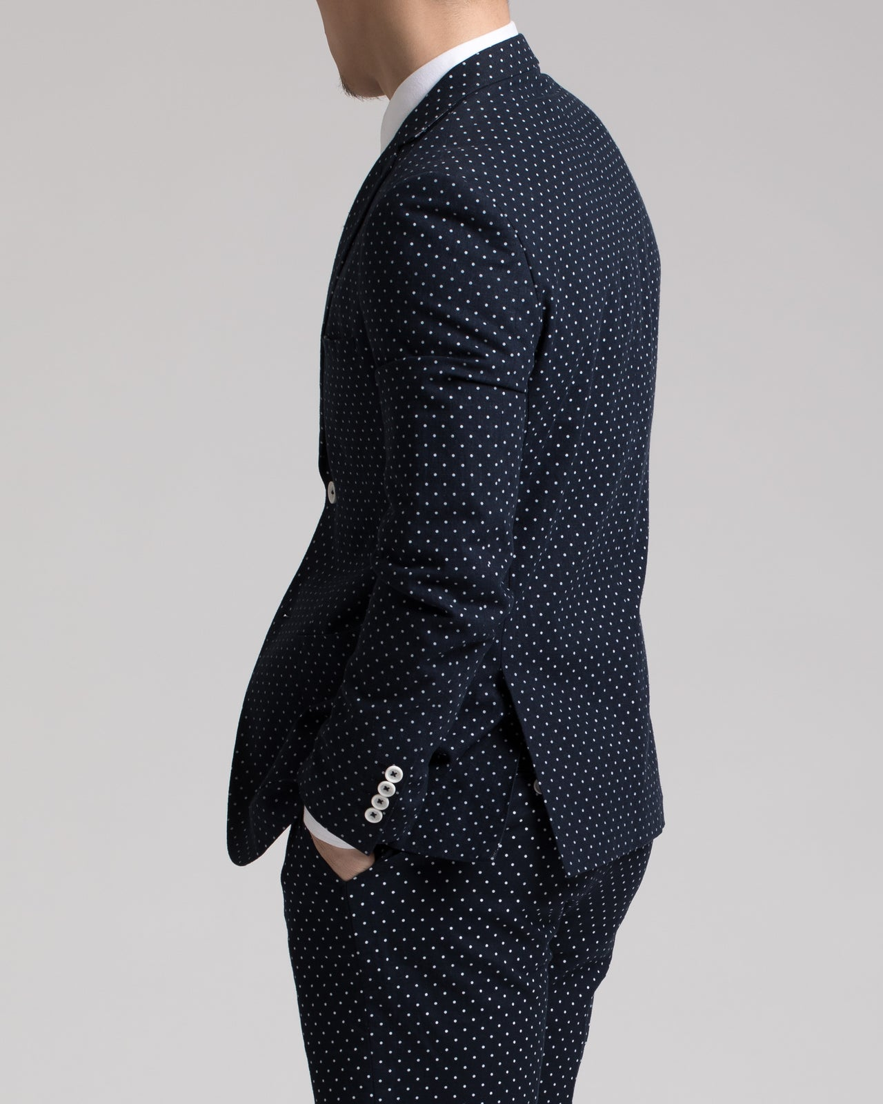 Dover Notch Jacket - Color: Navy & White Polkadot | Blue