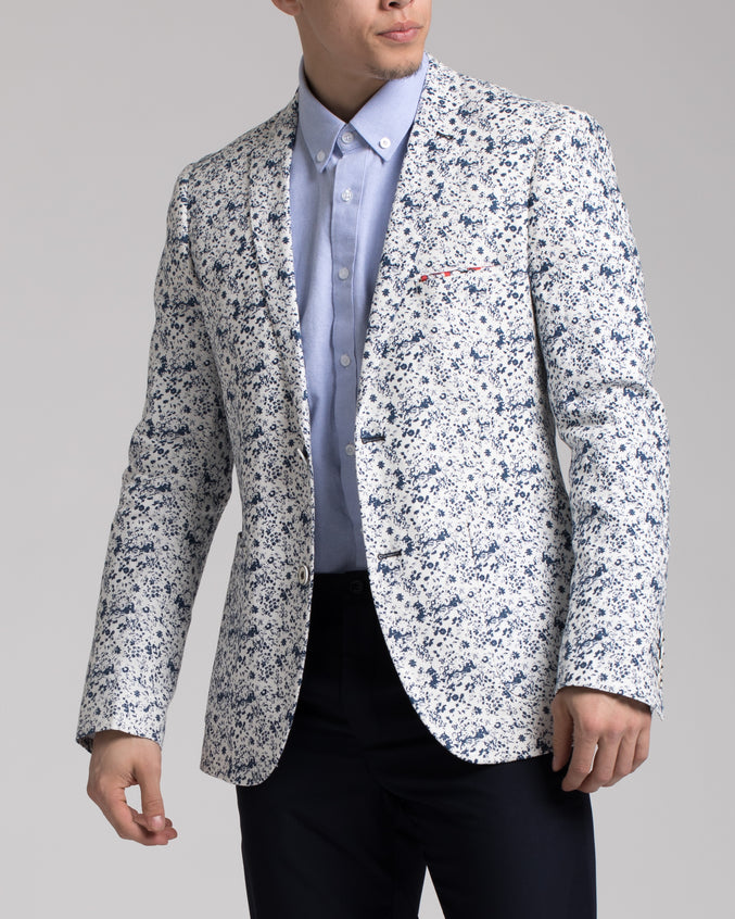 Dover Notch Jacket - Color: White & Blue Floral | White