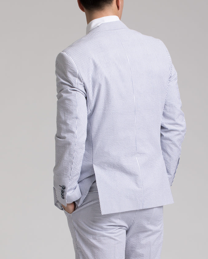 Dover Notch Jacket - Color: White/Blue Seersucker | White