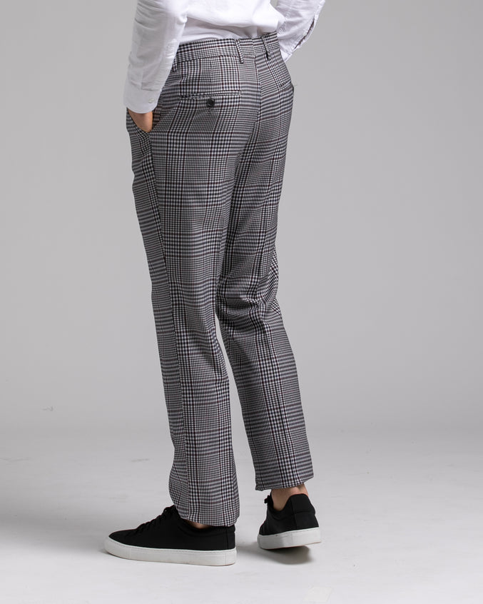 Dorsia Suit Pant - Color: Grey Burgundy Plaid | Gray