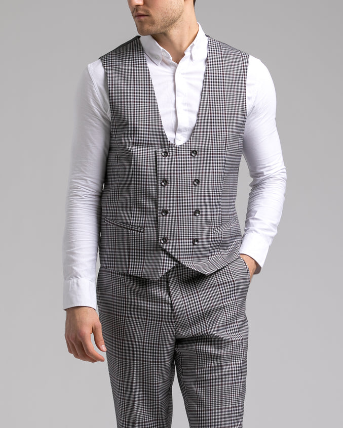 Dorsia Suit Jacket - Color: Grey Burgundy Plaid | Gray