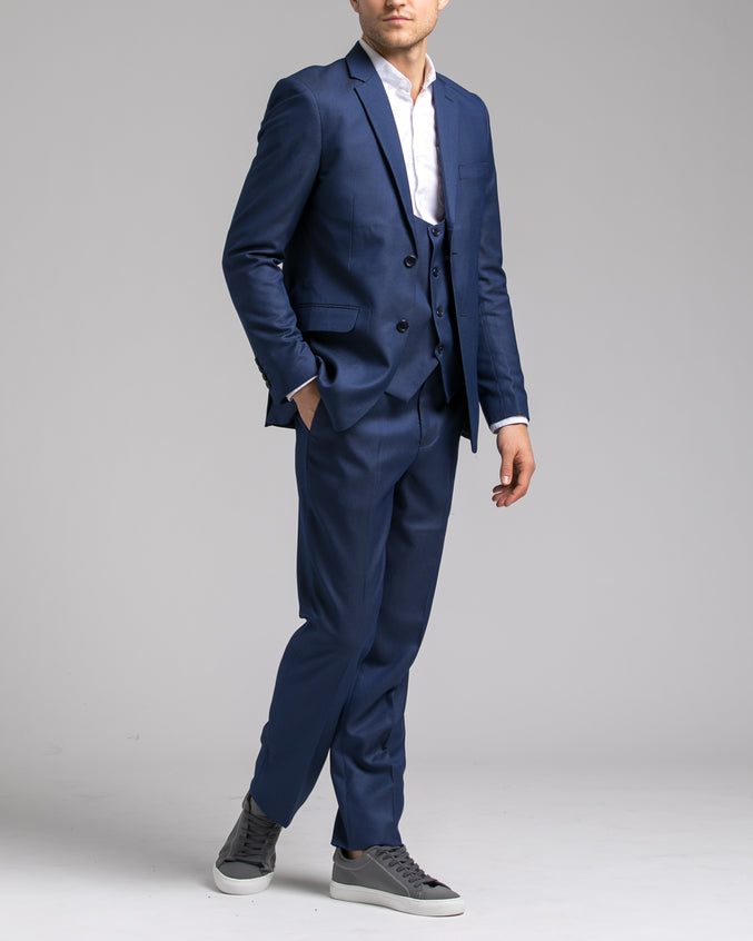 Dorsia Suit Jacket - Color: Sharkskin Blue | Blue