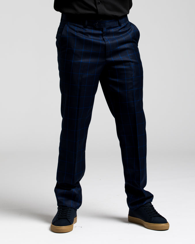 Dorsia Suit Pant - Color: Tonal Navy Plaid | Blue