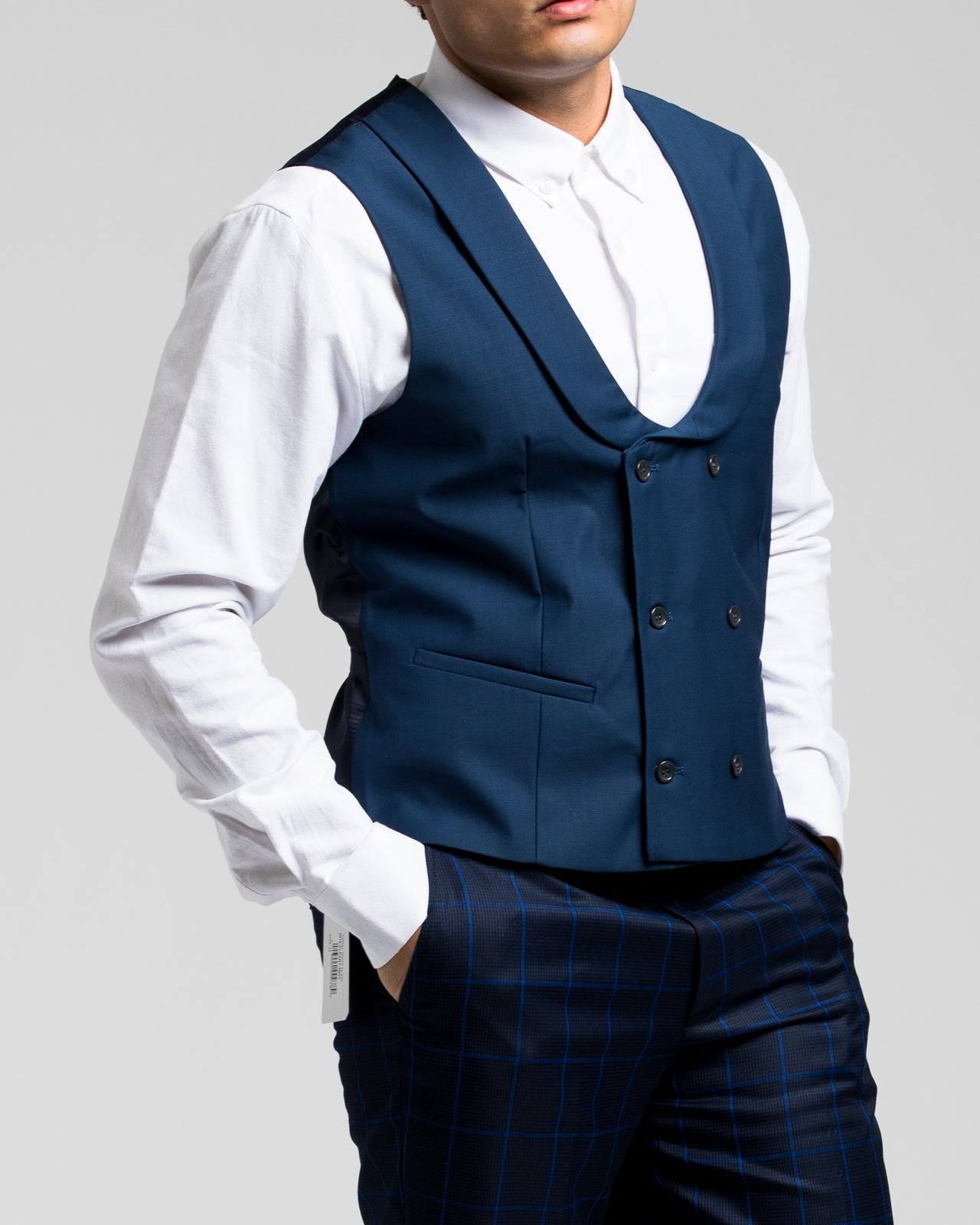 Dorsia Suit Vest - Color: Tonal Navy Plaid | Blue