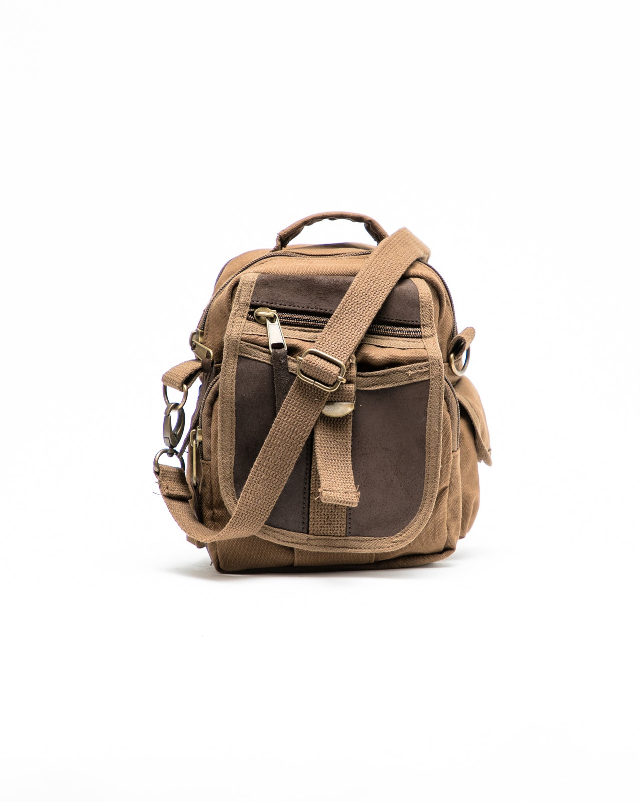 Travell Shoulder Bag with Leather Accents - Color: Brown | Brown