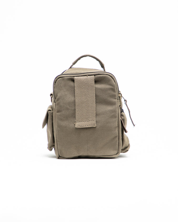 Travell Shoulder Bag with Leather Accents - Color: Olive Drab | Green