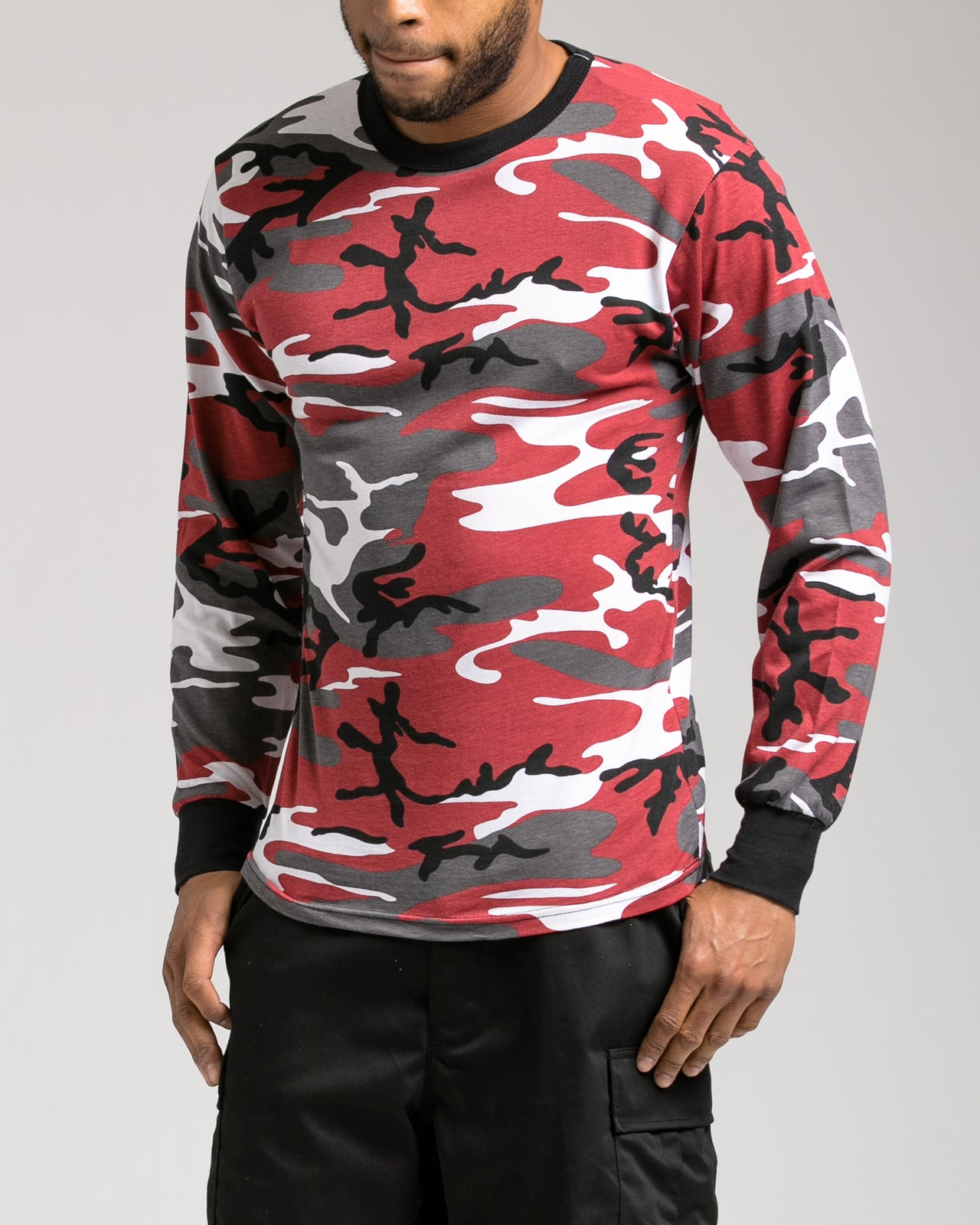 Color Camo Long Sleeve Tee - Color: Red camo | Red