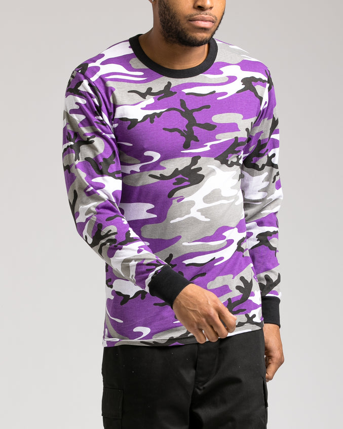 Color Camo Long Sleeve Tee - Color: Ultra Violet Camo | Purple