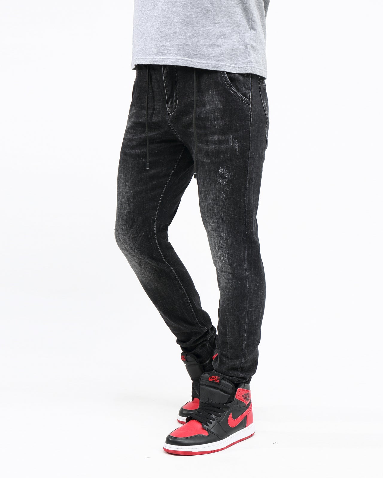 Stretch Drawstring Vintage Denim - Color: Black | Black