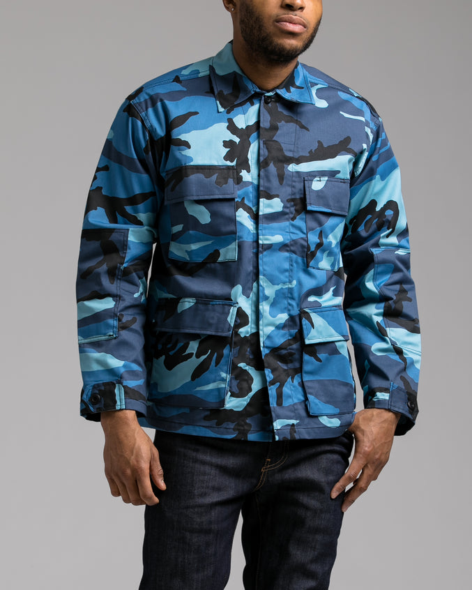 B.D.U. Shirt Jacket - Color: Sky Blue Camo | Blue