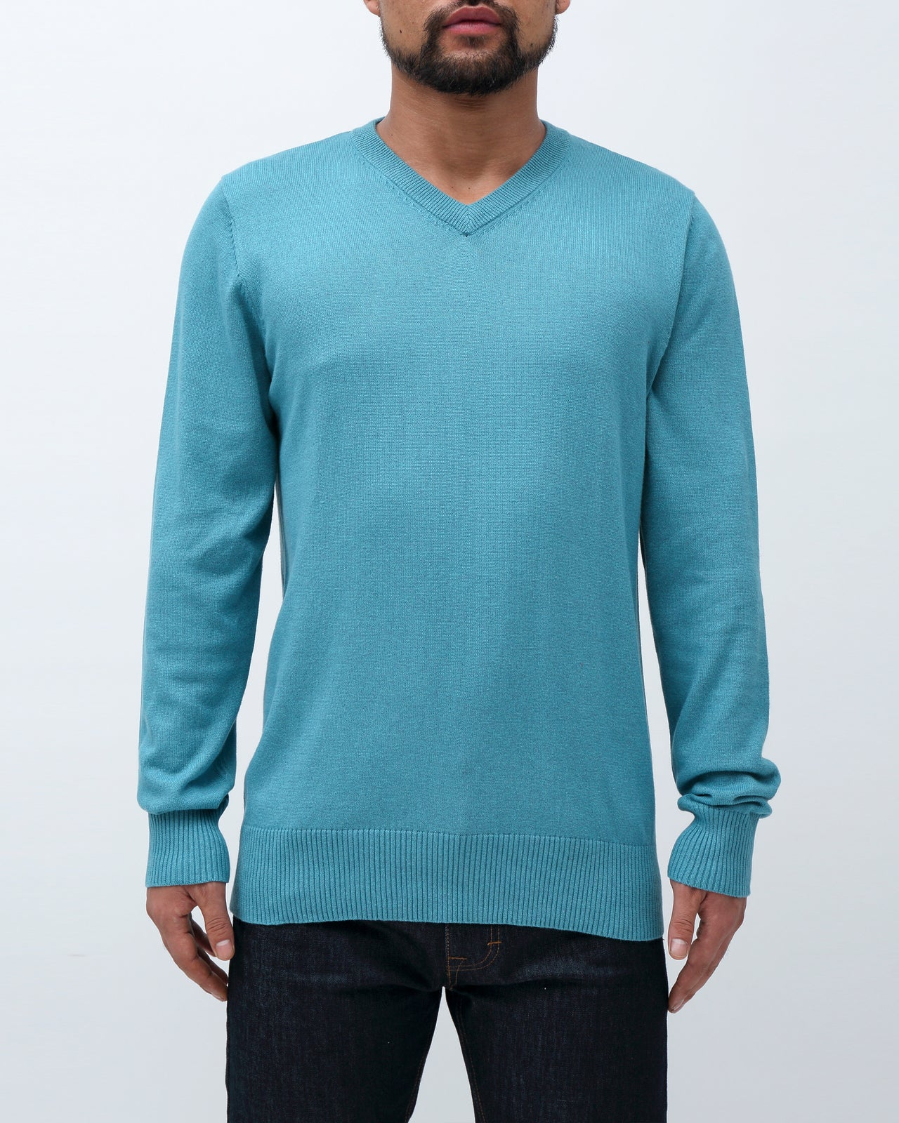 Sweater V Neck - Color : Blue