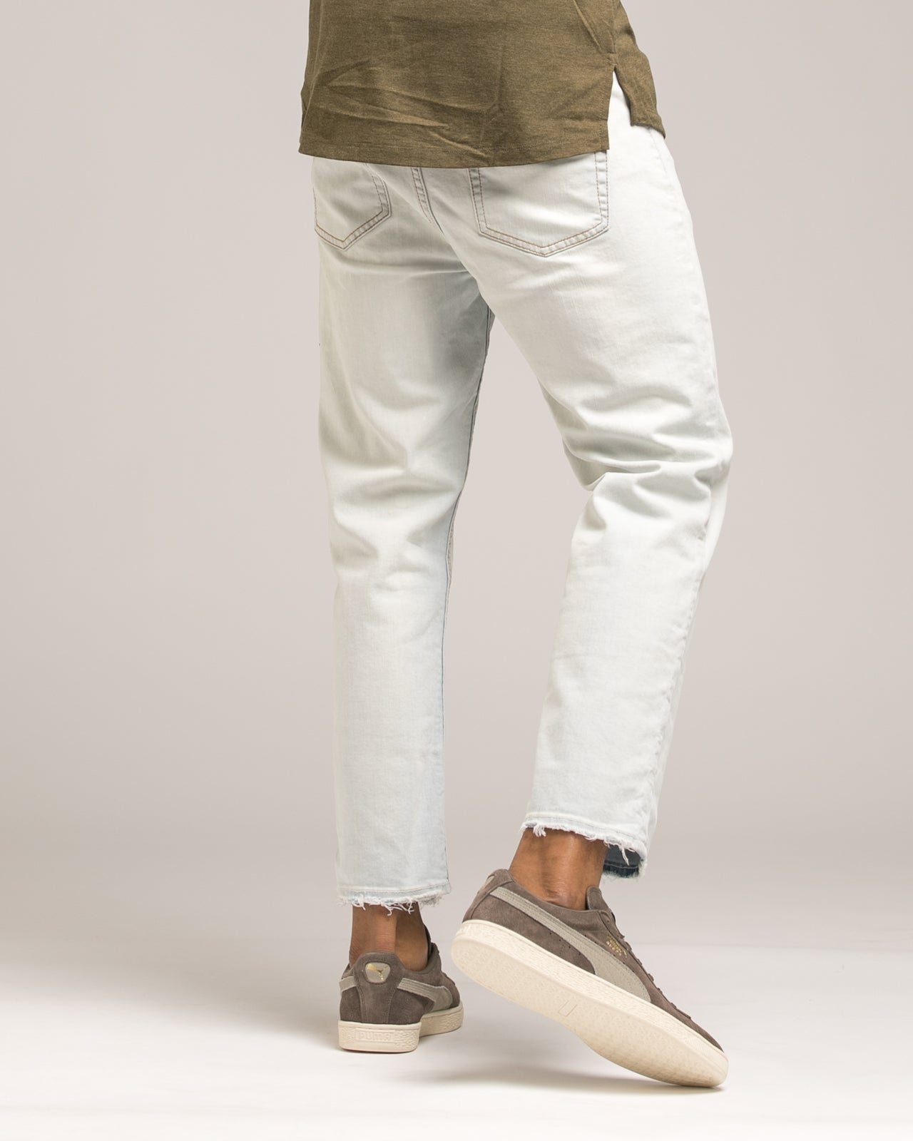 Tapered Crop Denim - Color: White Wash | White