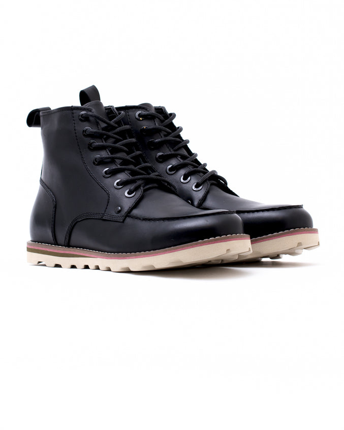 Moc Toe Boot - Color: Black Waxed Leather | Black