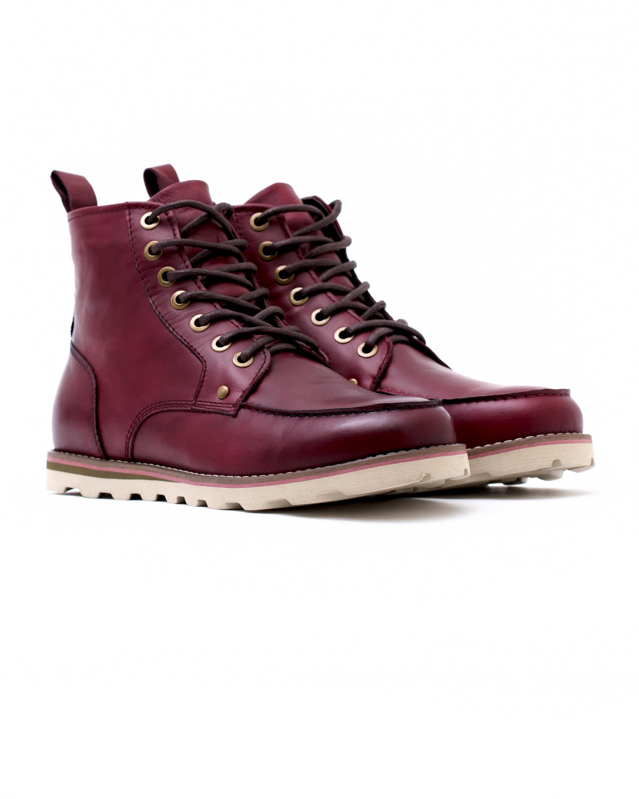 Moc Toe Boot - Color: Wine Waxed Leather | Red