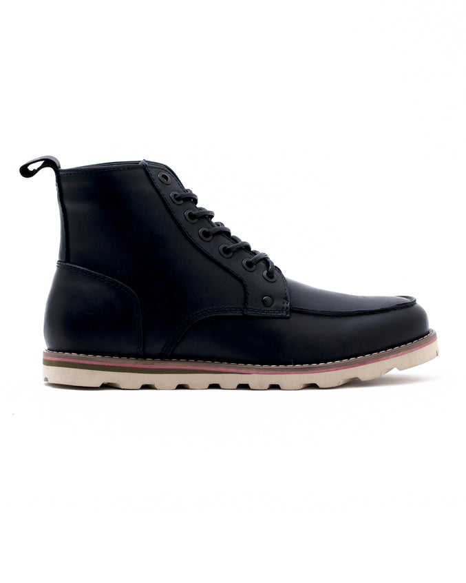 Moc Toe Boot - Color: Navy Waxed Leather | Blue