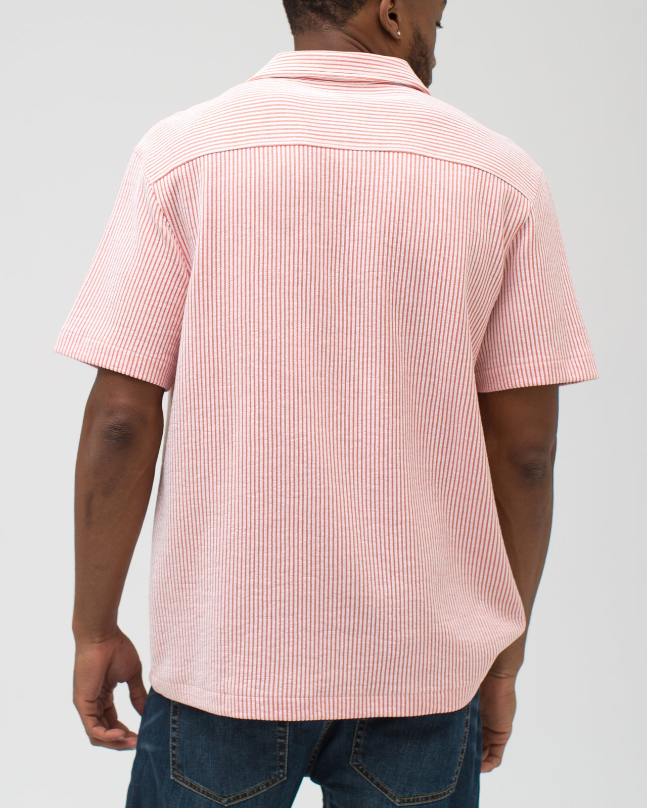 Jacquard Stripe Camp Shirt - Color: Crabapple | Red