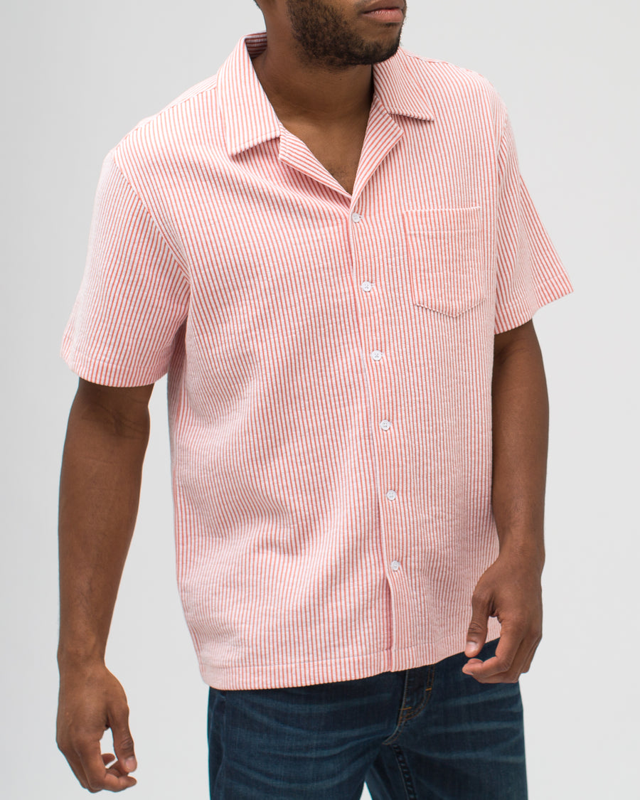 Jacquard Stripe Camp Shirt