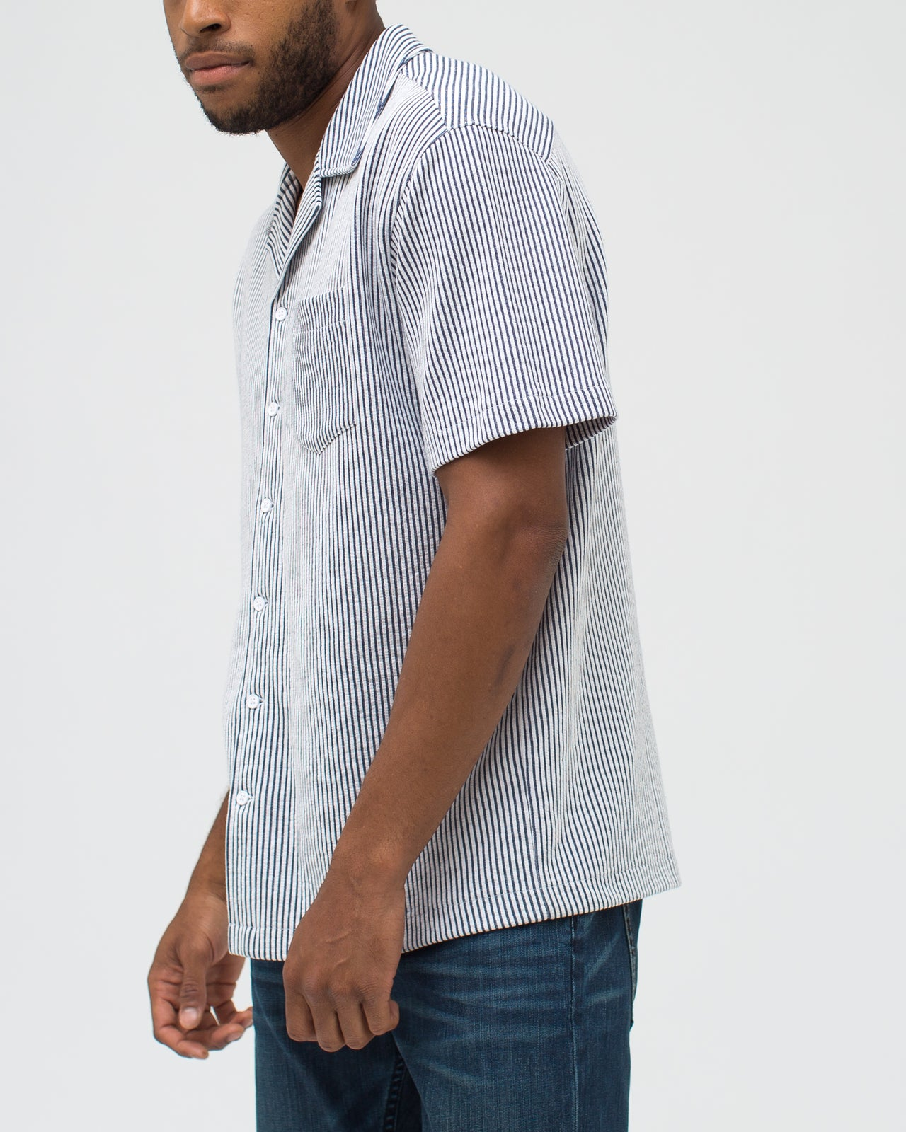 Jacquard Stripe Camp Shirt - Color: Navy | Blue
