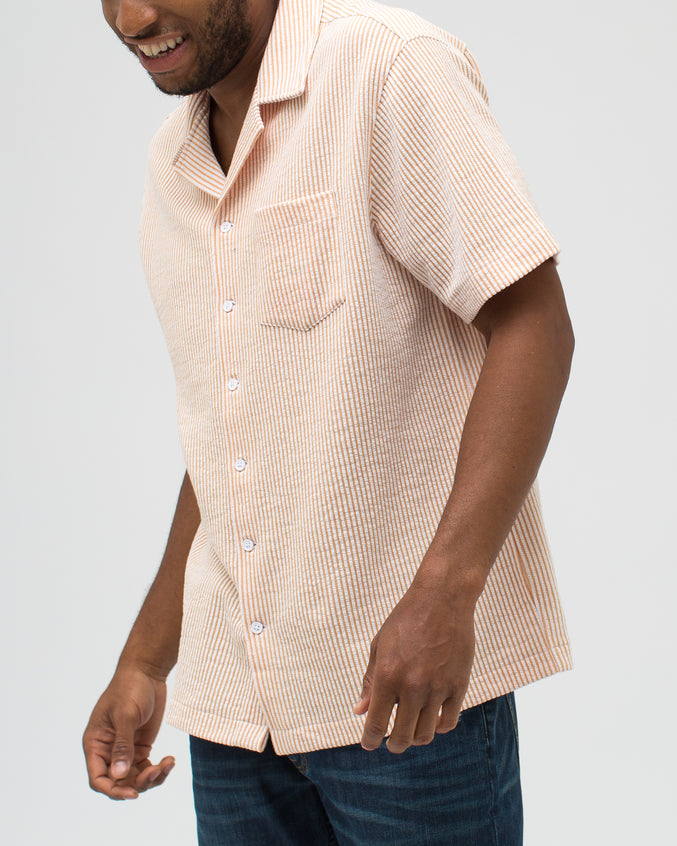 Jacquard Stripe Camp Shirt - Color: Khaki | Beige