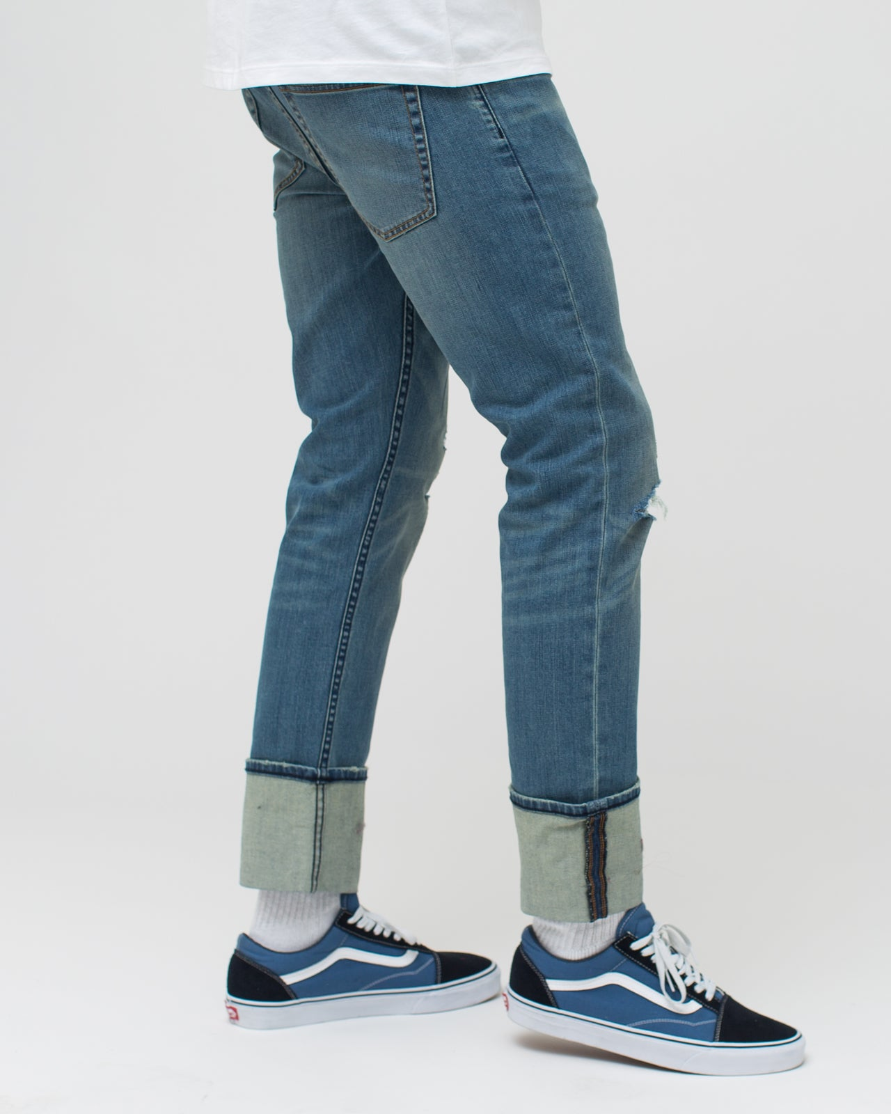Cuffed Denim Pant - Color: Vintage Blue | Blue