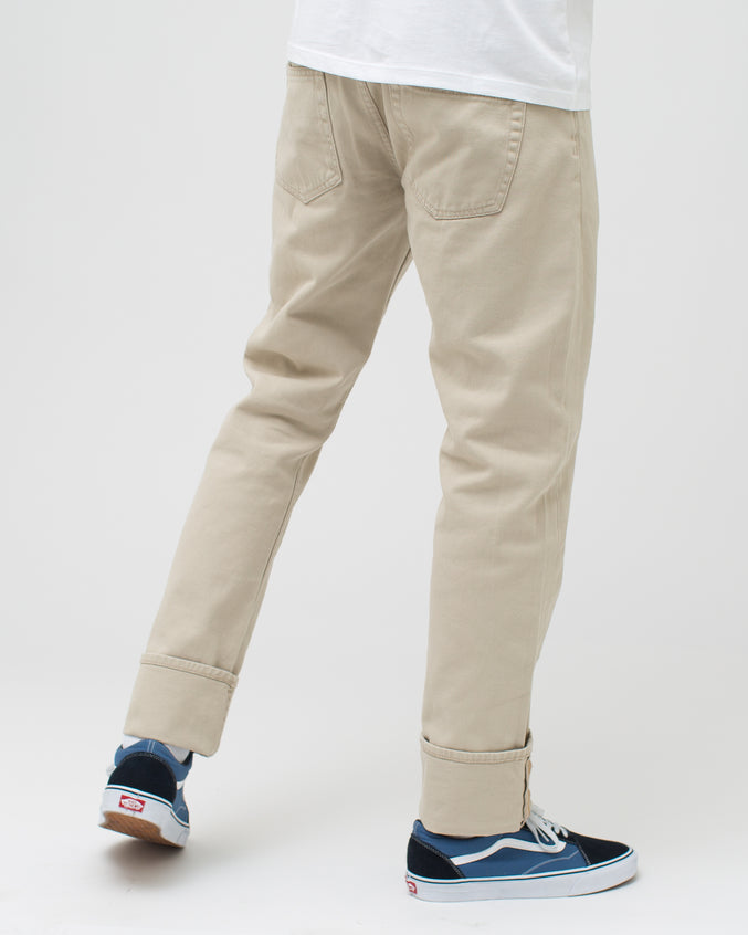 Cuffed Denim Pant - Color: Natural | Beige