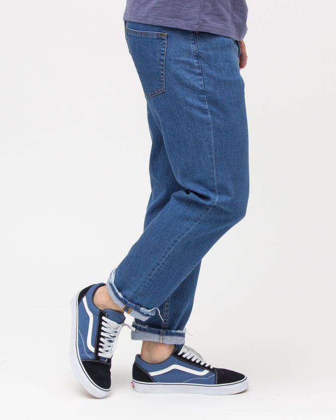Taper Crop Denim - Color: Medium Wash | Blue
