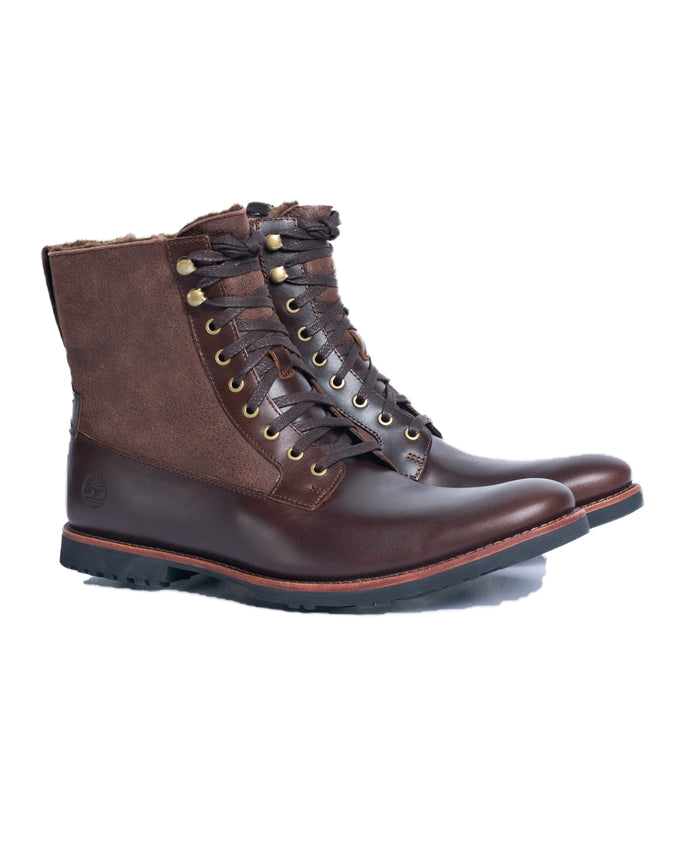 Kendrick Warm Lined Lace up Boot- Color: Dark Brown Full Grain | Brown