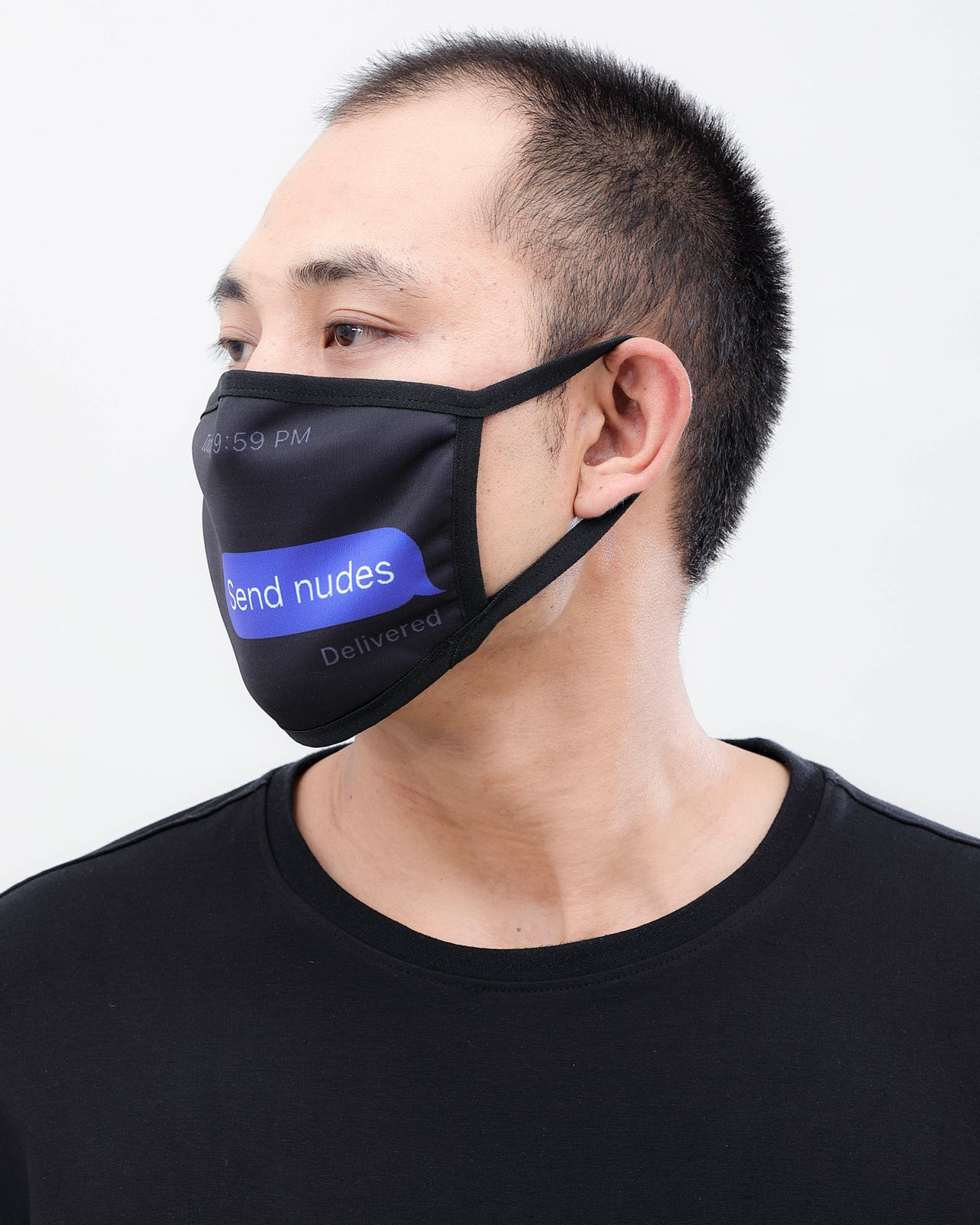 Send Nudes Face Mask - Color: Black | Black
