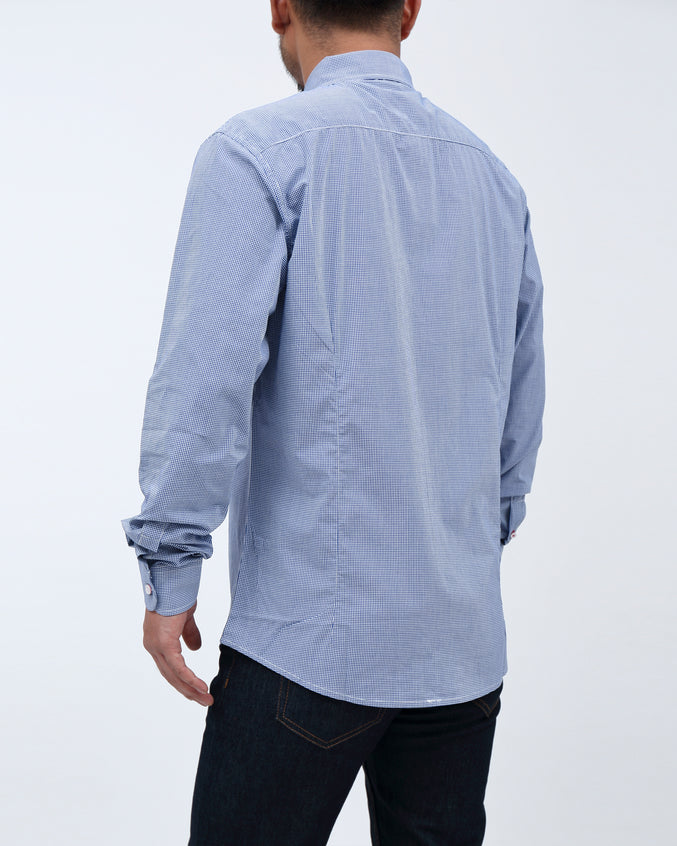 Micro Gingham Shirt - Color: Blue | Blue