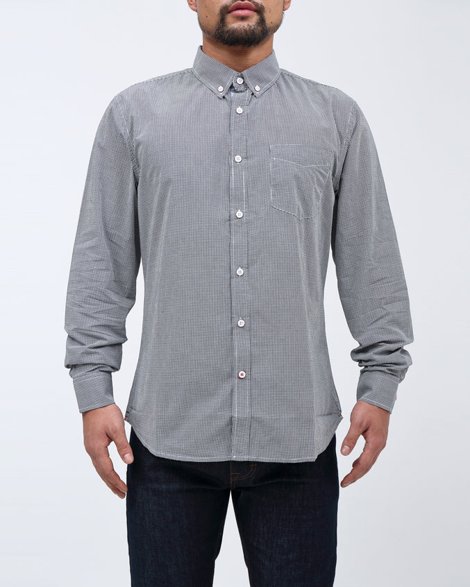 Micro Gingham Shirt - Color: Black | Black