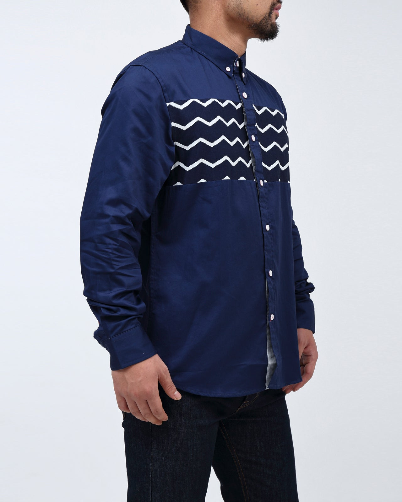 Zig Zag Shirt - Color: Navy | Blue