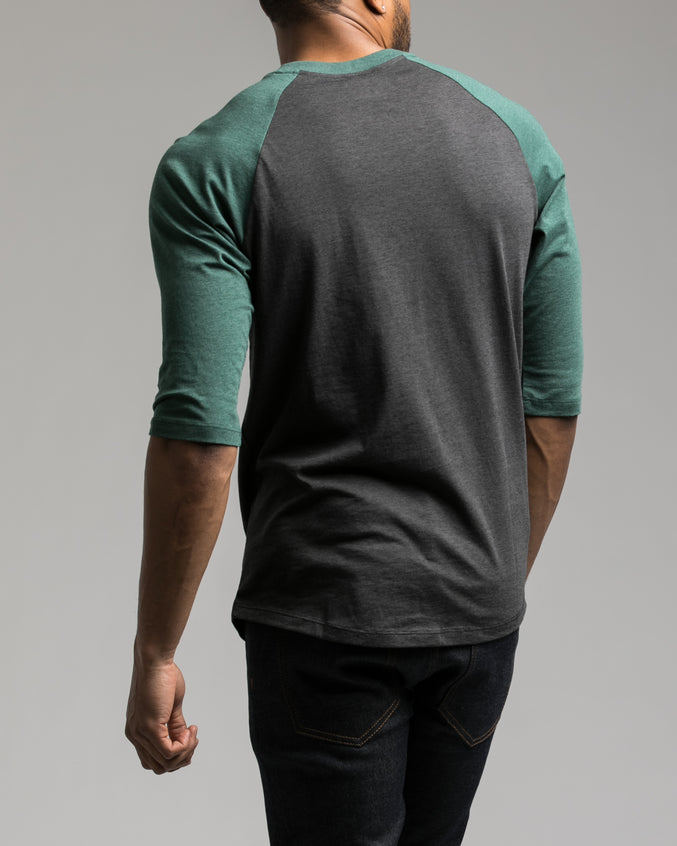 Contrast Heather Henley Tee - Color: Dark Green Heather | Green