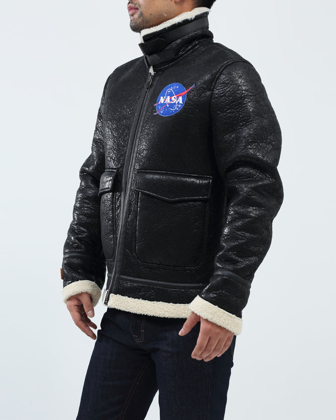 Nasa Meatball Shearing Jacket Bomber - Color: Black | Black