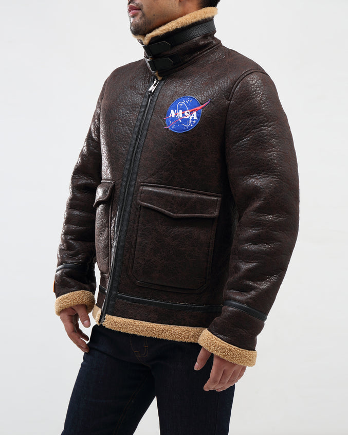 Nasa Meatball Shearing Jacket Bomber - Color: BROWN