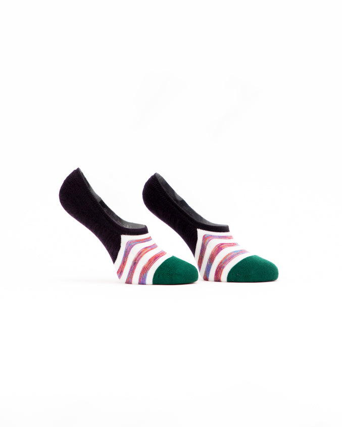 No Show Striped Sock - Color: Multi White | Multi