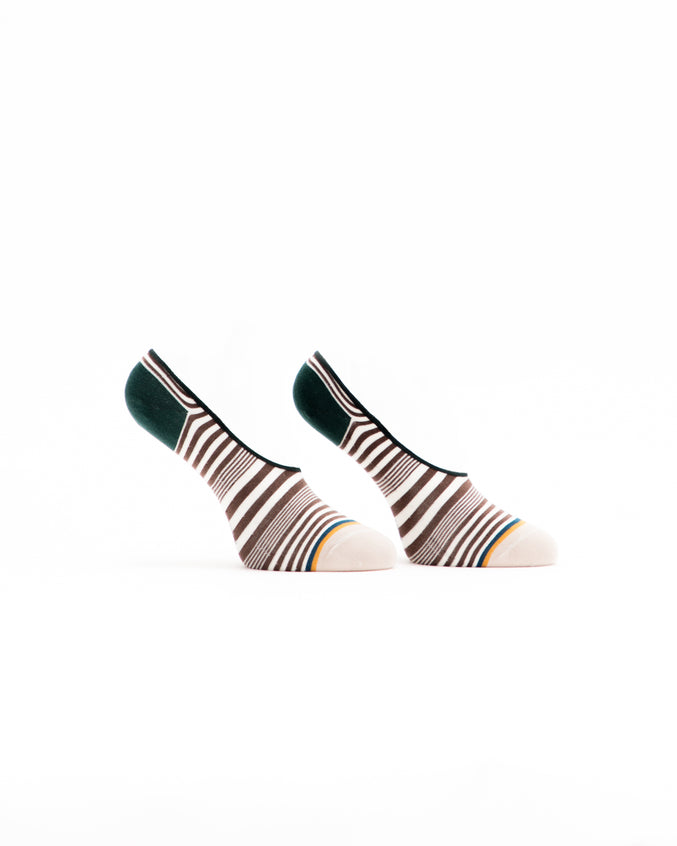 No Show Striped Sock - Color: Cream Multi | Beige