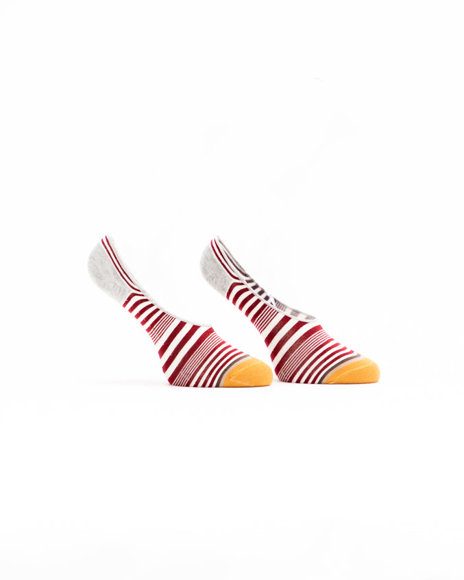 No Show Striped Sock - Color: Red Multi | Red