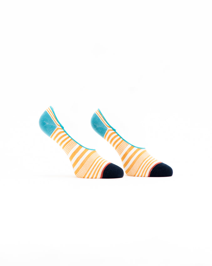 No Show Striped Sock - Color: Yellow Multi | Yellow