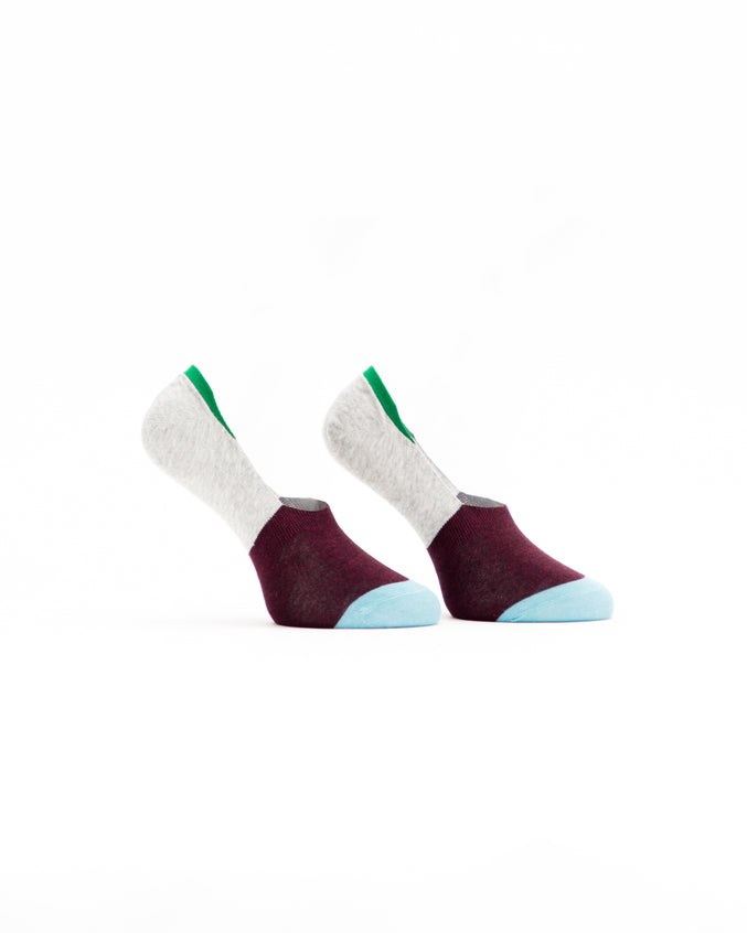 No Show Sock - Color: Burgundy/Grey | Red