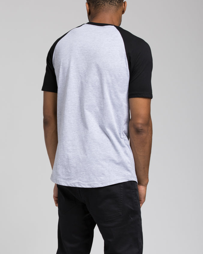 Short Sleeve Henley - Color: Black/Heather Grey | Gray