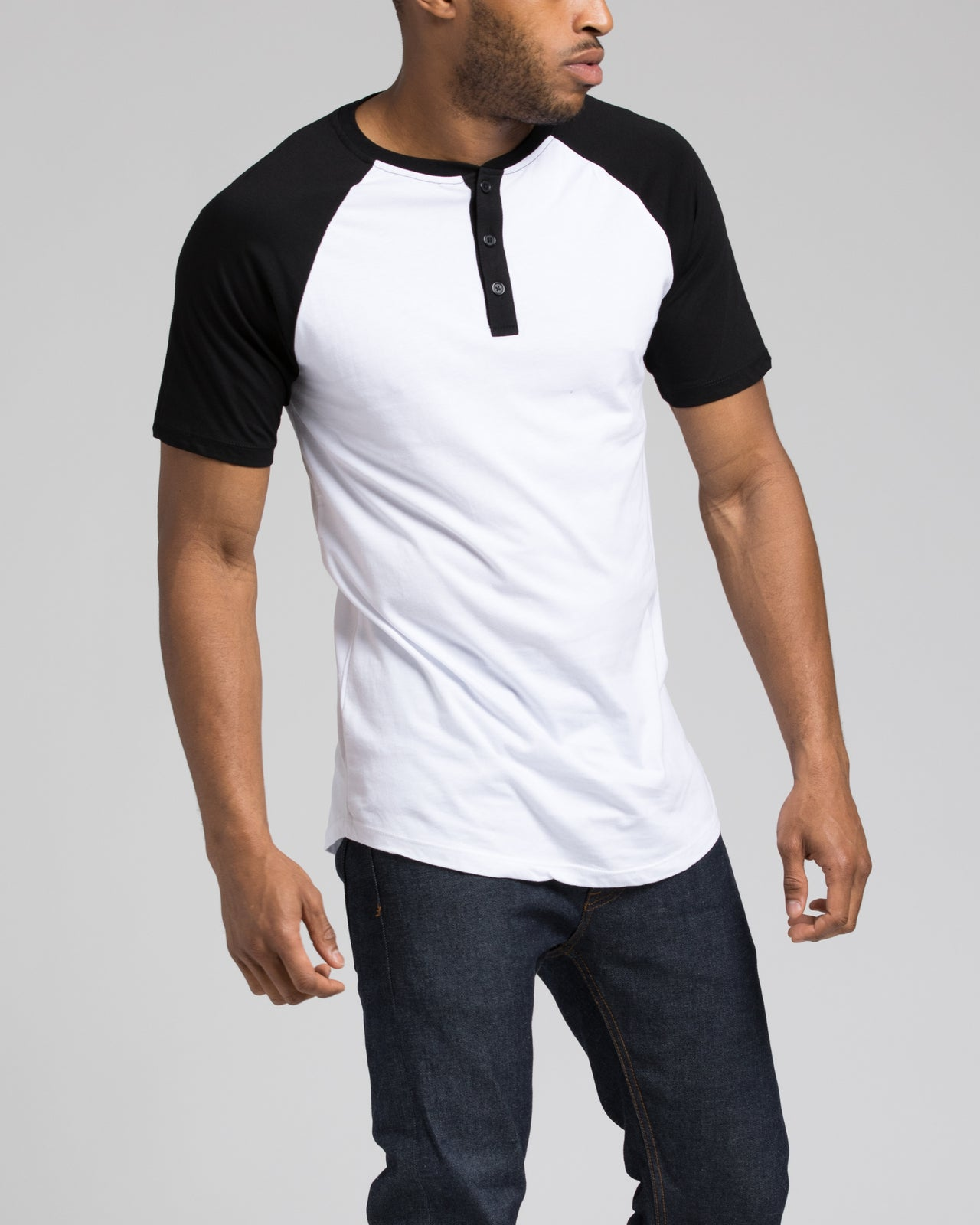 Short Sleeve Henley - Color: Black/White | White
