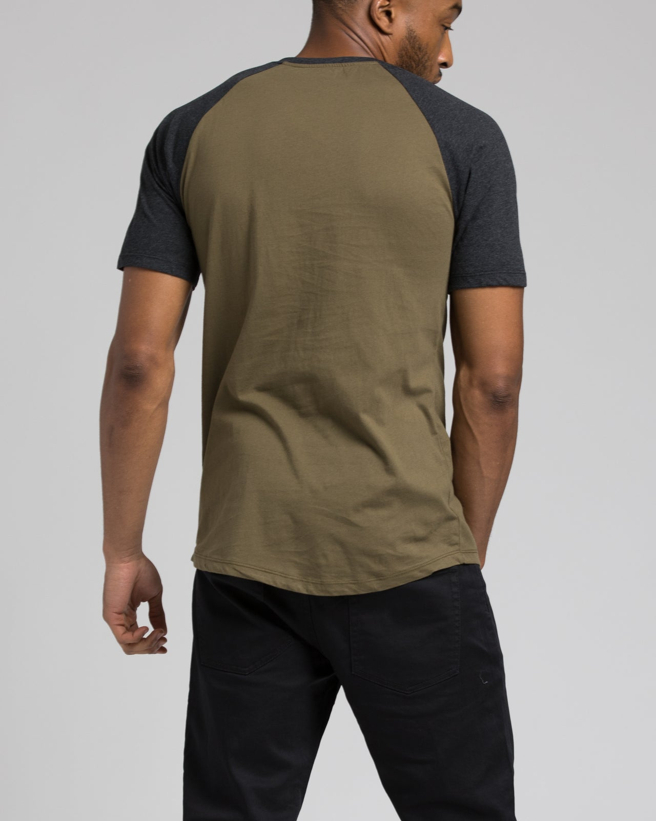 Short Sleeve Henley - Color: Charcoal/Olive | Green