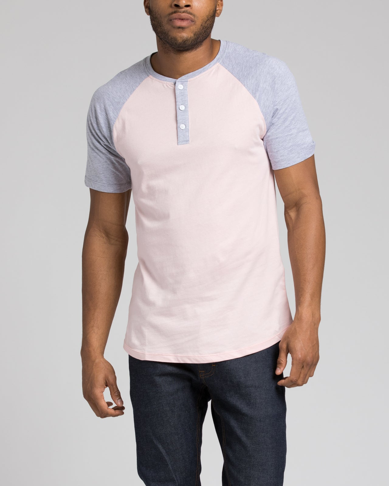 Short Sleeve Henley - Color: Heather Grey/Pink | Pink