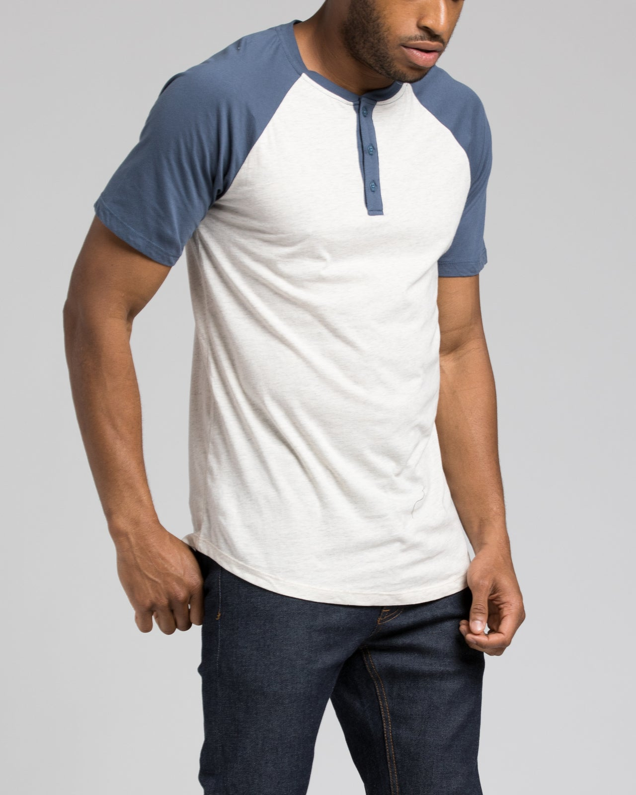 Short Sleeve Henley - Color: Heather Navy/Oatmeal | Beige
