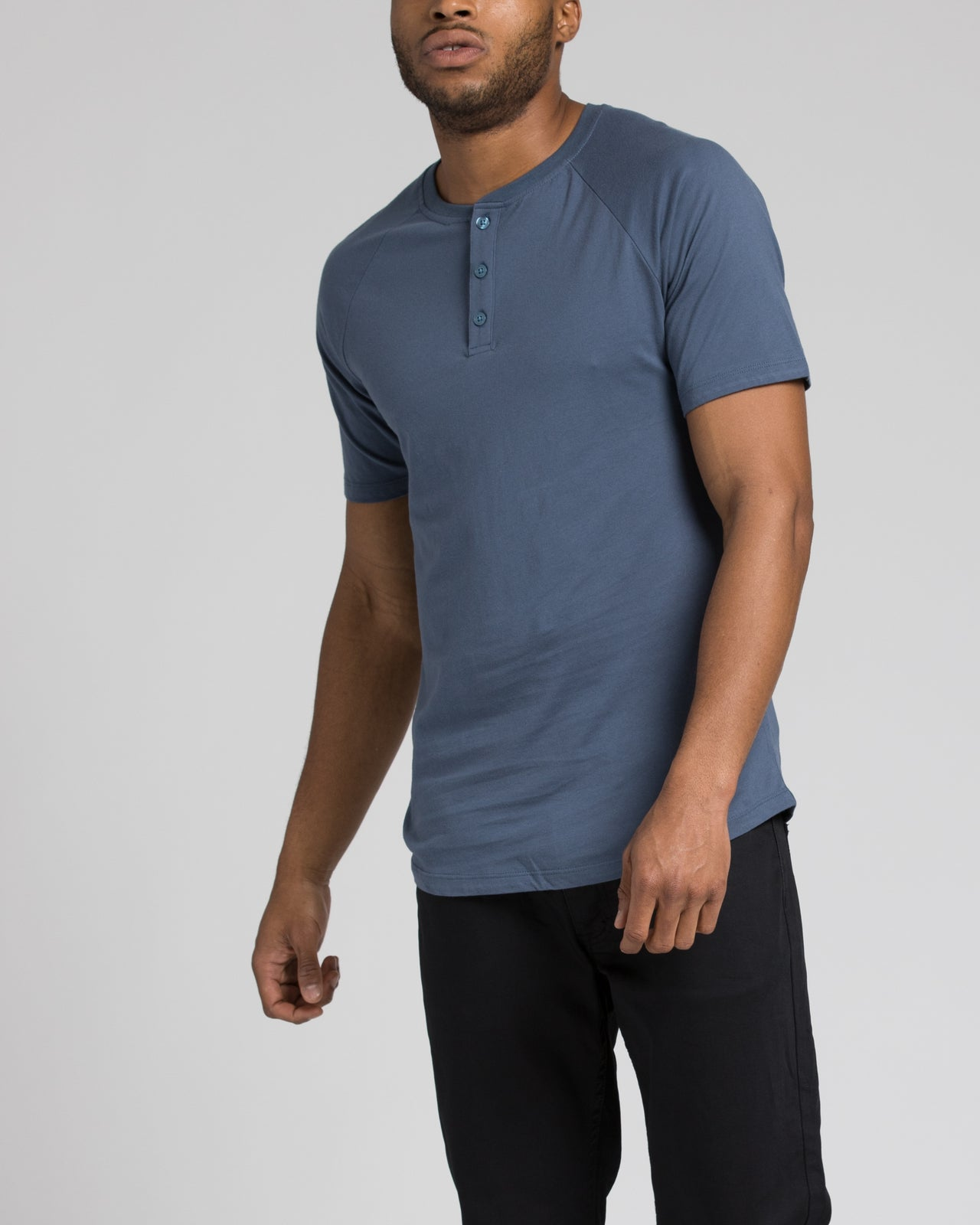 Short Sleeve Henley - Color: Heather Navy | Blue