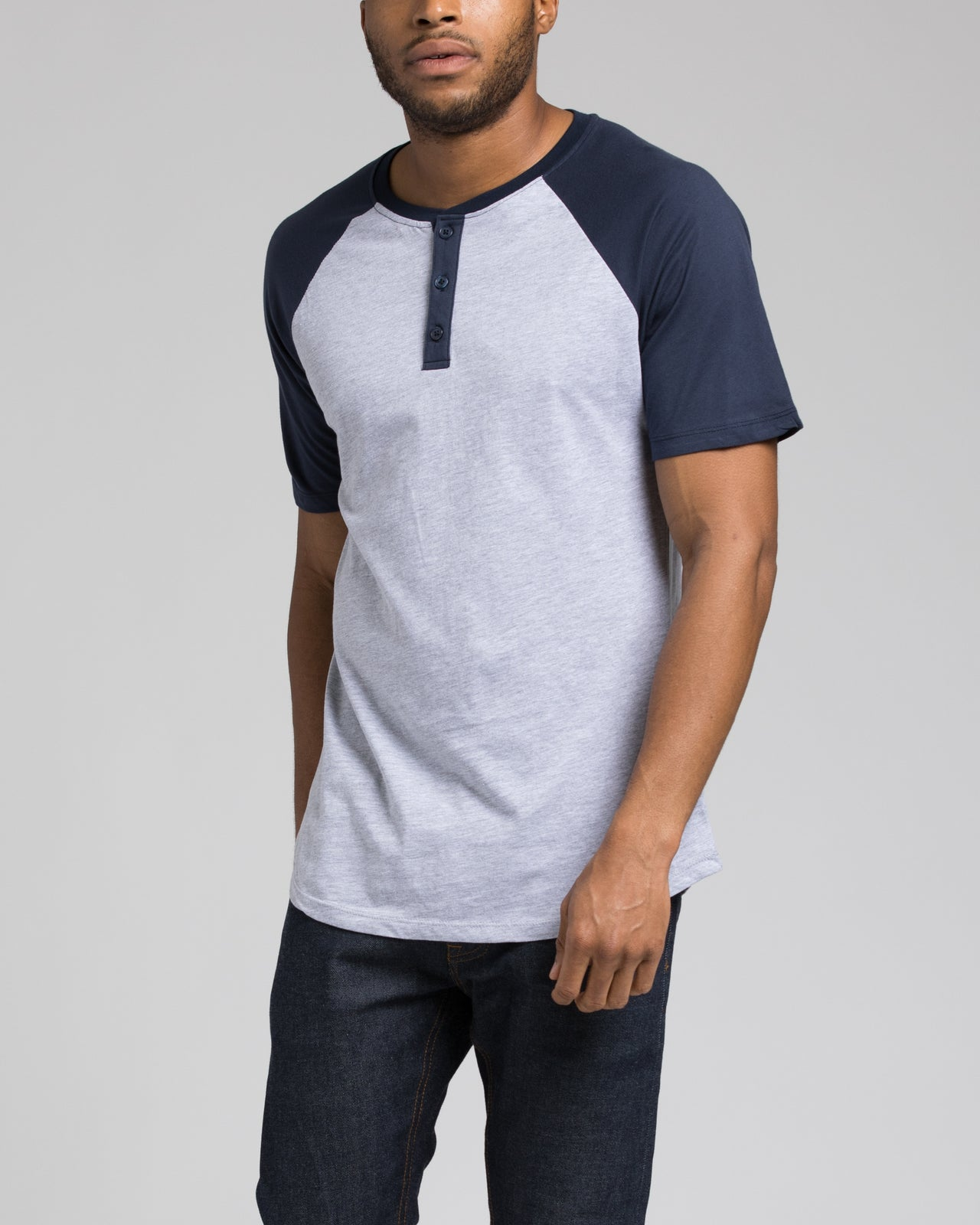 Short Sleeve Henley - Color: Navy/Heather Grey | Gray