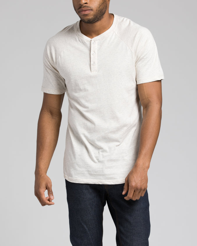 Short Sleeve Henley - Color: Oatmeal | Beige