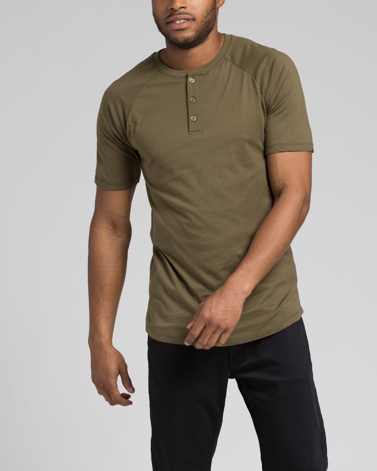 Short Sleeve Henley - Color: Olive | Green