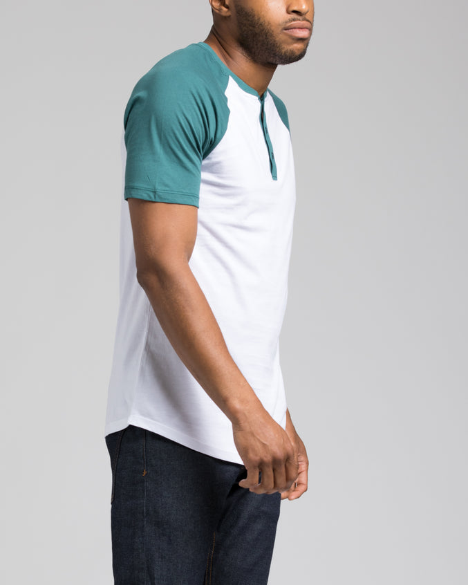 Short Sleeve Henley - Color: Teal/White | White